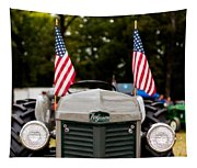 Vintage Ferguson Tractor With American Flags Tapestry