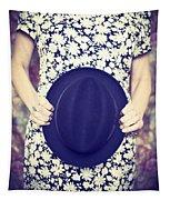Vintage Hat Flower Dress Woman Tapestry