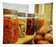 Vintage Jars On A Kitchen Window Tapestry