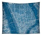 Vintage Manhattan Street Map Blueprint Tapestry