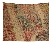 Vintage Manhattan Street Map Watercolor On Worn Canvas Tapestry