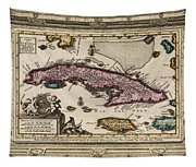 Vintage Map Of Cuba Tapestry