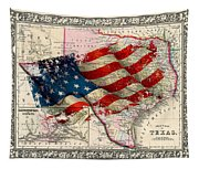 Vintage Map Of Texas 2 Tapestry
