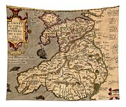 Vintage Map Of Wales 1633 Tapestry