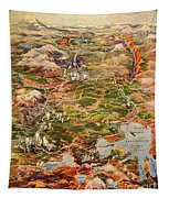 Vintage Map Of Yellowstone National Park Tapestry