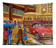 Vintage Montreal-st.catherine And Union-couples And Streetcars Tapestry