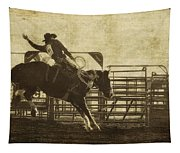 Vintage Saddle Bronc Riding Tapestry
