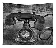 Vintage Telephone In Black And White  Tapestry