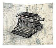 Vintage Typewriter French Letters Square Format Tapestry