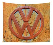 Vintage Volkswagen Bus Logo Tapestry