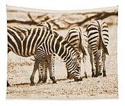 Vintage Zebras Tapestry