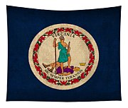 Virginia State Flag Art On Worn Canvas Tapestry
