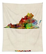 Virginia Watercolor Map Tapestry by Michael Tompsett