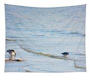Waders Walking The Beach. Tapestry