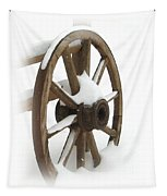 Wagon Wheel In Snow Tapestry