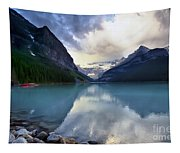 Waiting For Sunrise At Lake Louise Tapestry