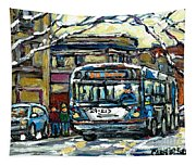 Waiting For The 80 Bus Montreal Memories Winter City Scene Painting January Art Carole Spandau Art Tapestry