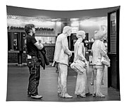 Waiting In Line At Grand Central Terminal 1 - Black And White Tapestry