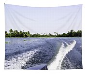 Wake From The Wash Of An Outboard Motor Boat In A Lagoon Tapestry