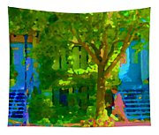 Walk In The City Past Blue Houses Staircases And Shade Trees Montreal Summer Scene Carole Spandau Tapestry