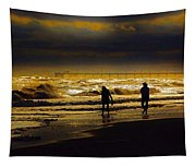 Walk In The Surf Colored Tapestry