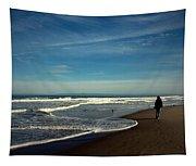 Walking On Seaside Beach Tapestry