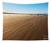 Walking On Windy Beach. Tapestry