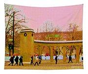 Walking Sherbrooke By Roddick Gates Mcgill Campus View Of Mont Royal Montreal Scenes Carole Spandau  Tapestry
