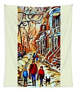 Walking The Dog By Balconville Winter Street Scenes Art Of Montreal City Paintings Carole Spandau Tapestry