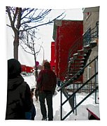 Walking The Dog Through Snowy Streets Of Montreal Urban Winter City Scenes Carole Spandau Tapestry