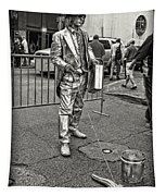 Walking The Gator On Bourbon St. Nola Black And White Tapestry