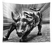 Wall Street Bull Black And White Tapestry