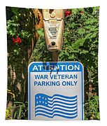 Veteran Parking Sign Tapestry