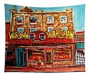 Warshaw's Bargain Fruit Store Rue St Laurent Montreal Paintings City Scene Art Carole Spandau Tapestry