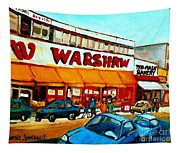 Warshaws Paintings Famous Fruit Store Main Street Montreal Art Prints Originals Commissions Cspandau Tapestry