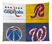 Washington Dc Sports Fan Recycled Vintage License Plate Art Capitals Redskins Wizards Nationals Tapestry