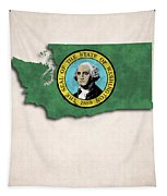 Washington Map Art With Flag Design Tapestry