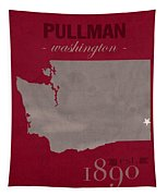 Washington State University Cougars Pullman College Town State Map Poster Series No 123 Tapestry