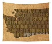 Washington Word Art State Map On Canvas Tapestry