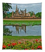 Wat Mahathat In13th Century Sukhothai Historical Park-thailand Tapestry
