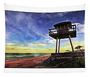 Watchtower On The Beach Tapestry