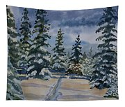 Original Watercolor - Colorado Winter Pines Tapestry