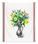 Watercolor Flowers Bouquet In Metal Pitcher Impressionism Tapestry