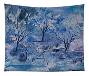 Watercolor - Icy Winter Landscape Tapestry