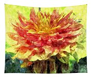 Watercolor Of Dreamy Dahlia Tapestry