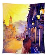 Watercolor Painting Of Street And Church Morelia Mexico Tapestry