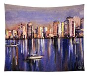 Watercolor Painting Of Vancouver Skyline Tapestry