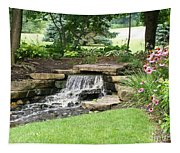 Waterfall With Coneflowers Tapestry
