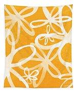Waterflowers- Orange And White Tapestry by Linda Woods