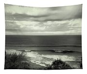 Wave Watching In Black And White - Kauai - Hawaii Tapestry